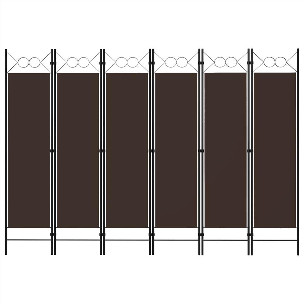 Séparateur de pièce à 6 panneaux brun 240x180 cm
