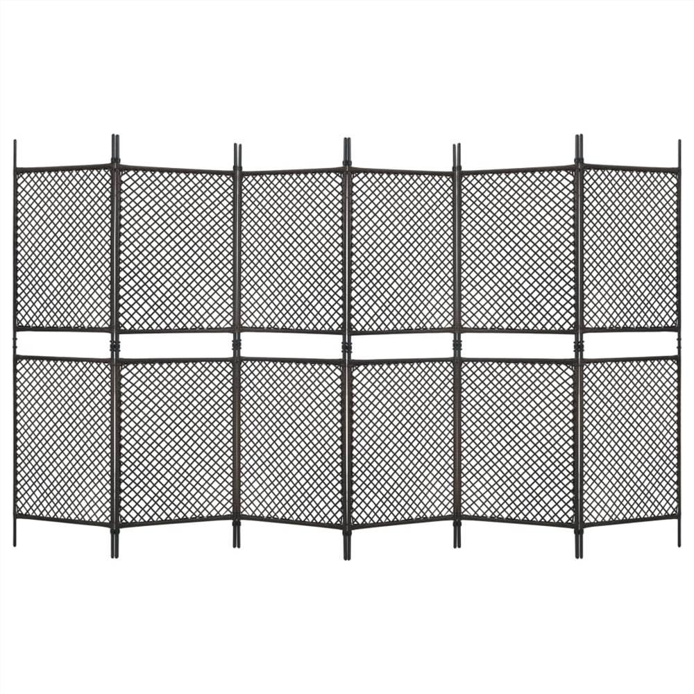 Séparateur de pièce à 6 panneaux en poly rotin brun 360x200 cm