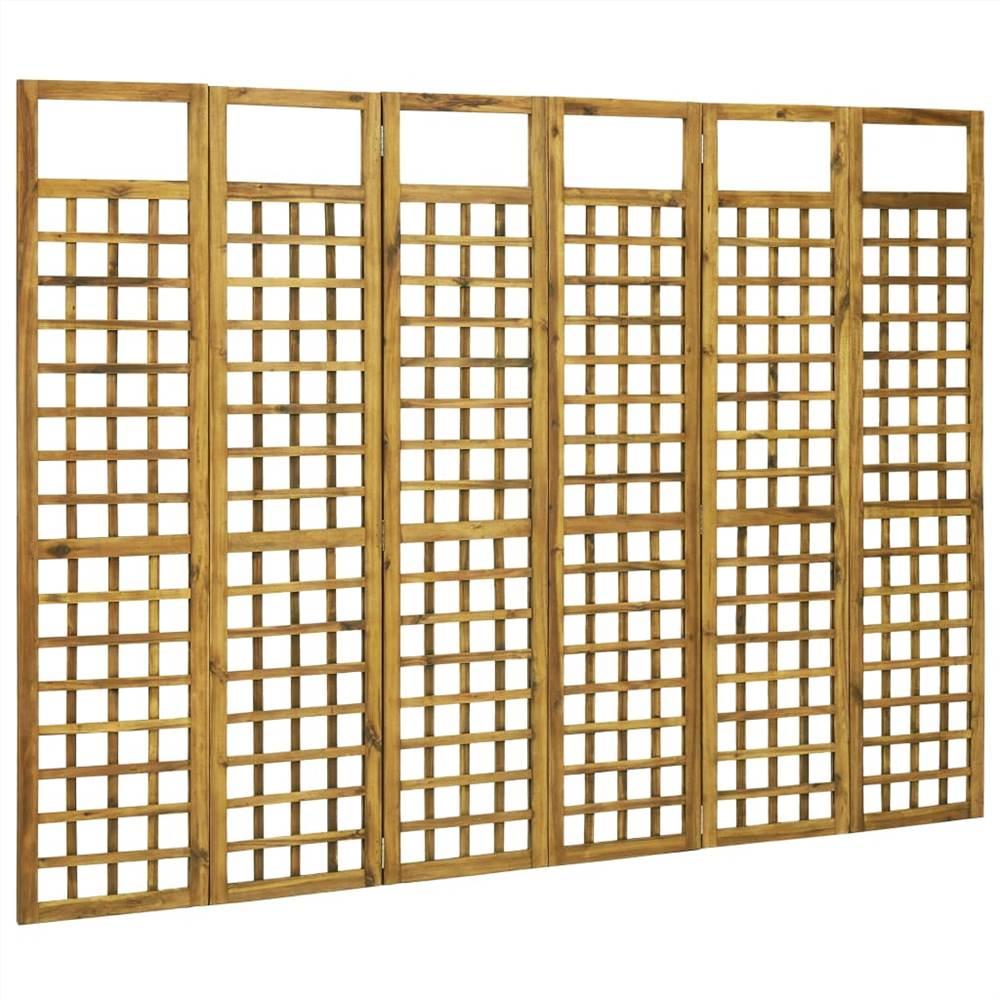 Cloison / treillis à 6 panneaux en bois d'acacia massif 240x170 cm