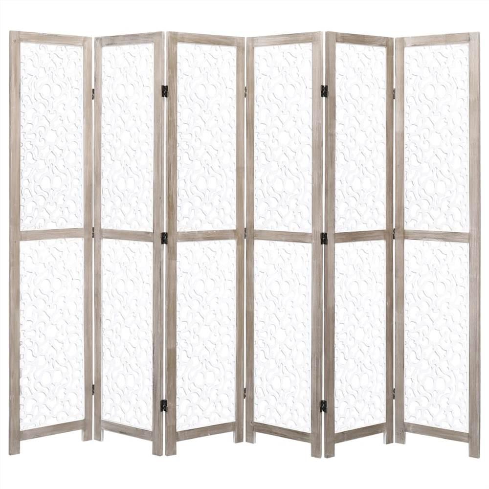 Cloison 6 panneaux Blanc 210x165 cm Bois Massif