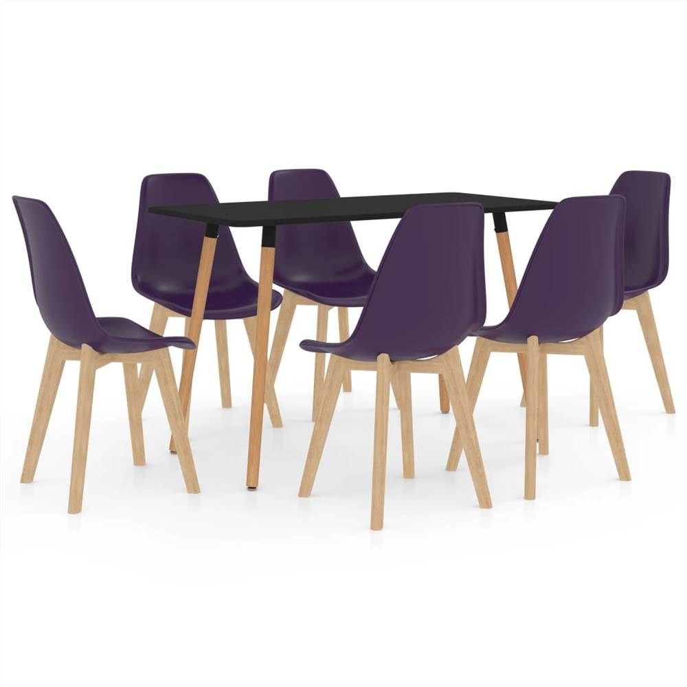 Ensemble de salle à manger 7 pièces violet foncé