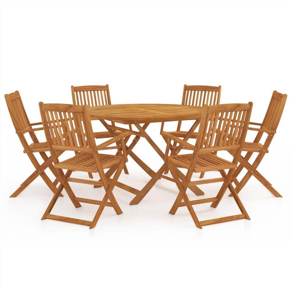 7 Piece Folding Garden Dining Set Solid Acacia Wood