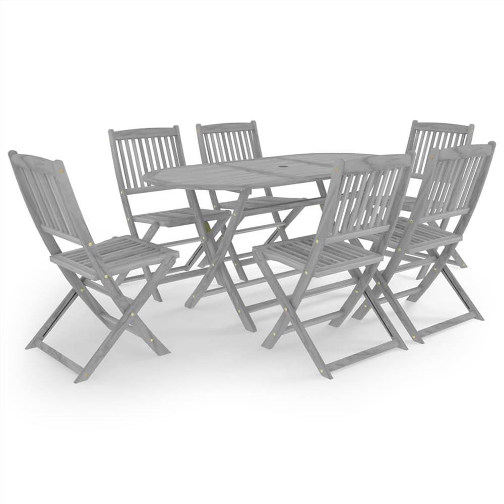 Set da pranzo da giardino 7 pezzi in legno massello di acacia grigio