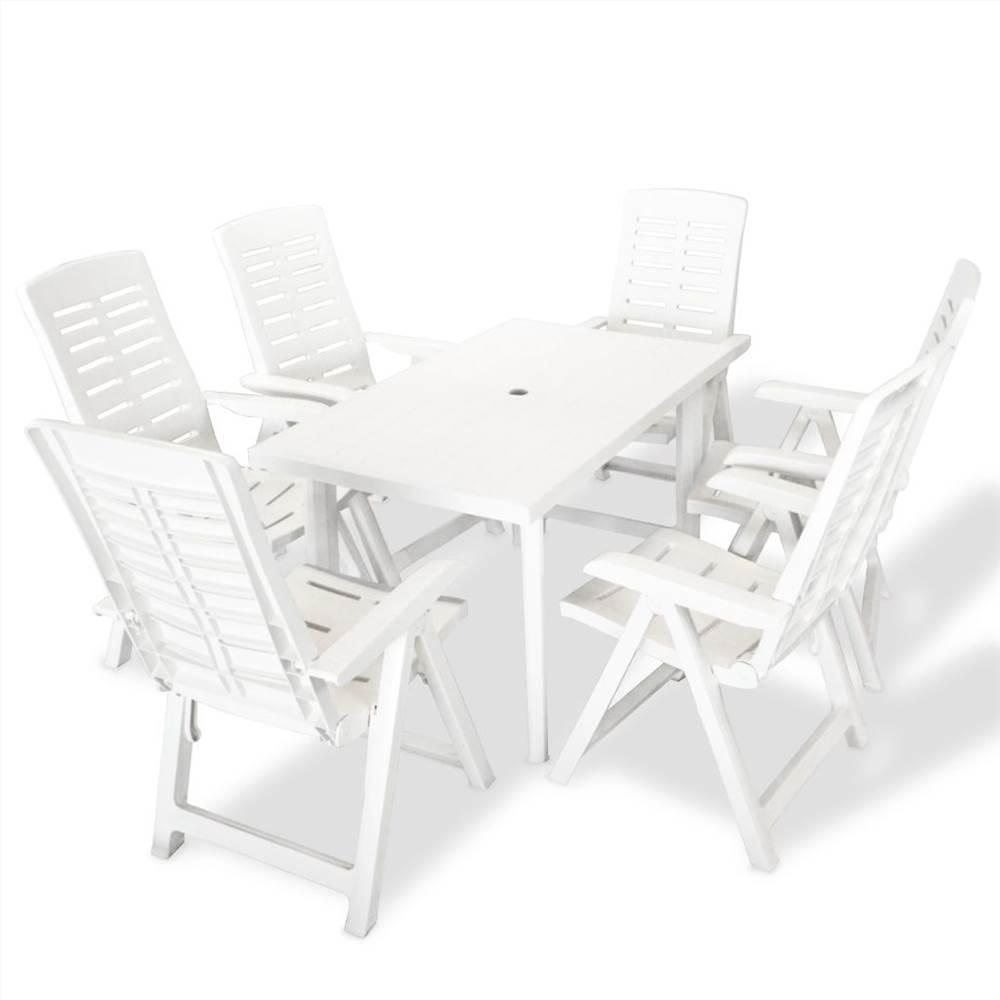 Set da pranzo da esterno 7 pezzi in plastica bianca