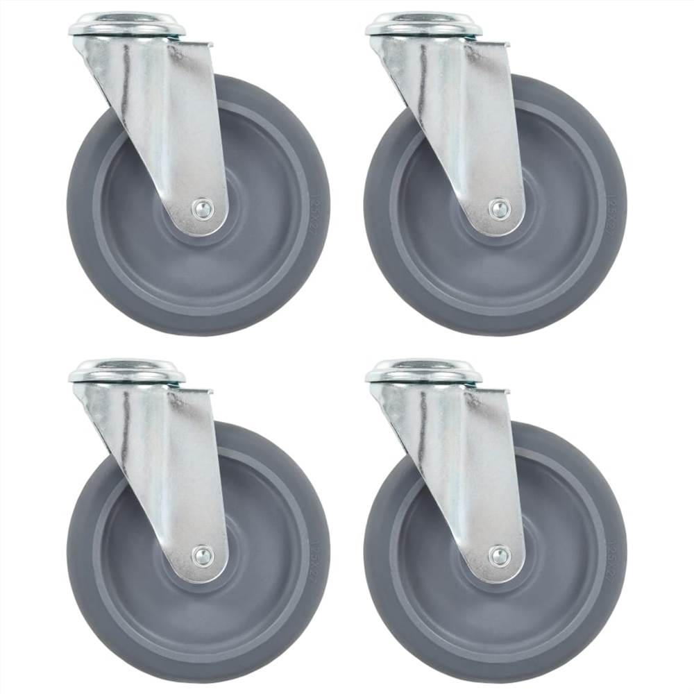 8 roulettes pivotantes à trou boulon 125 mm