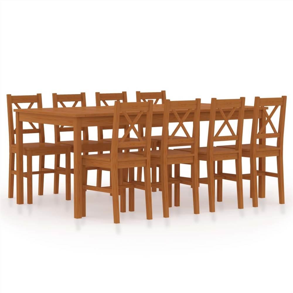 Ensemble de salle à manger 9 pièces Pinewood Honey Brown