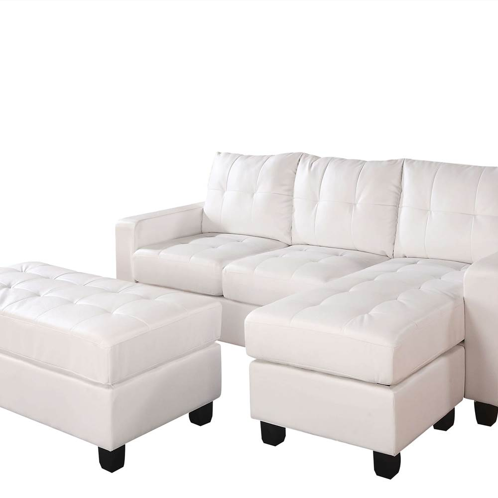 ACME Lyssa Sectional Sofa & Ottoman in White Bonded Leather Match 51210