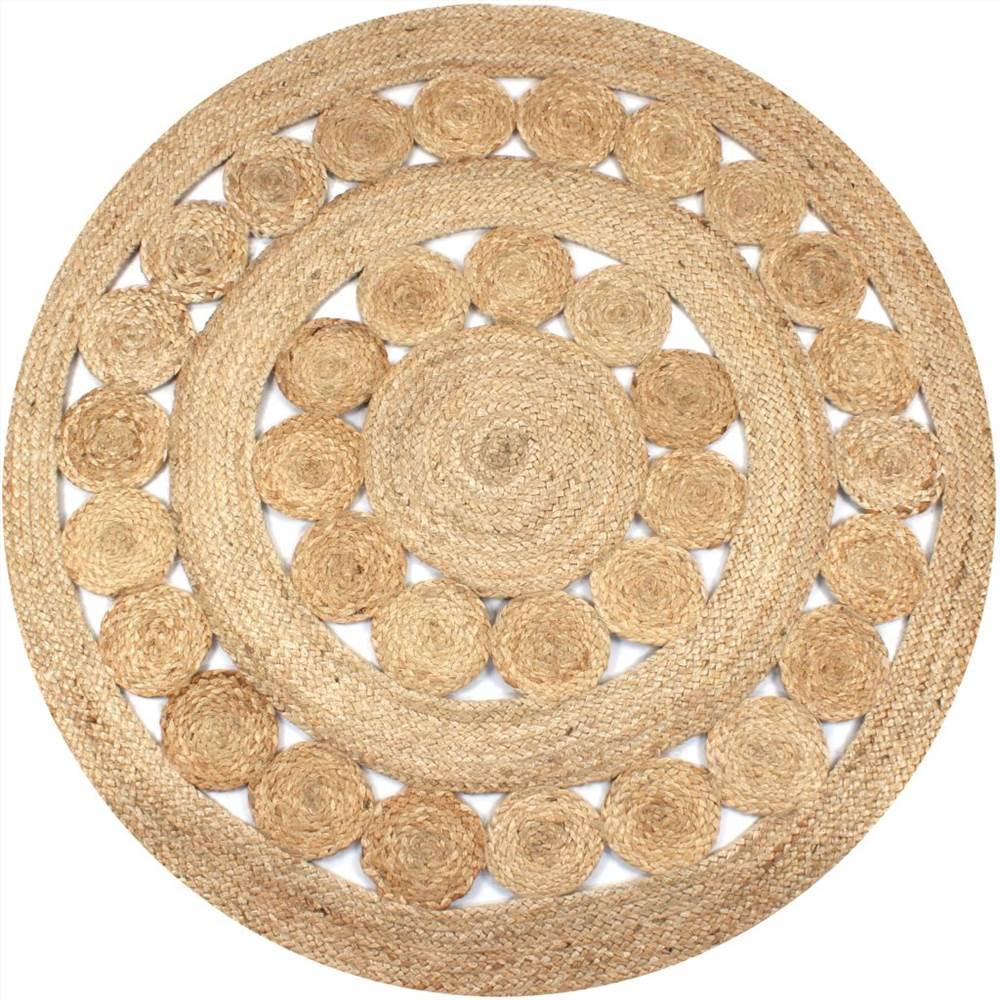 Area Rug Braided Design Jute 150 cm Round
