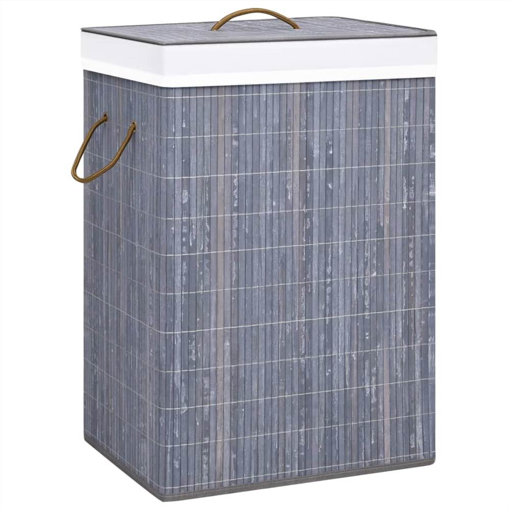 Bamboo Laundry Basket Grey