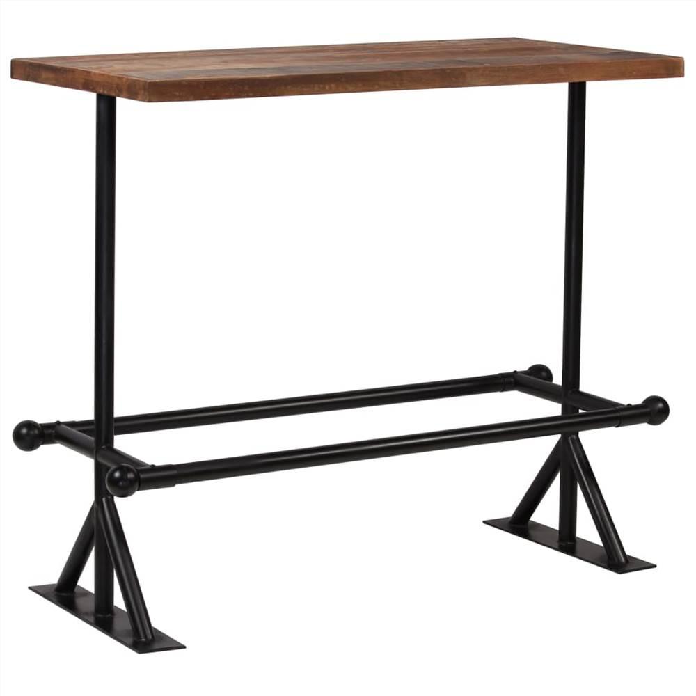 Bar Table Solid Reclaimed Wood Dark Brown 120x60x107 cm