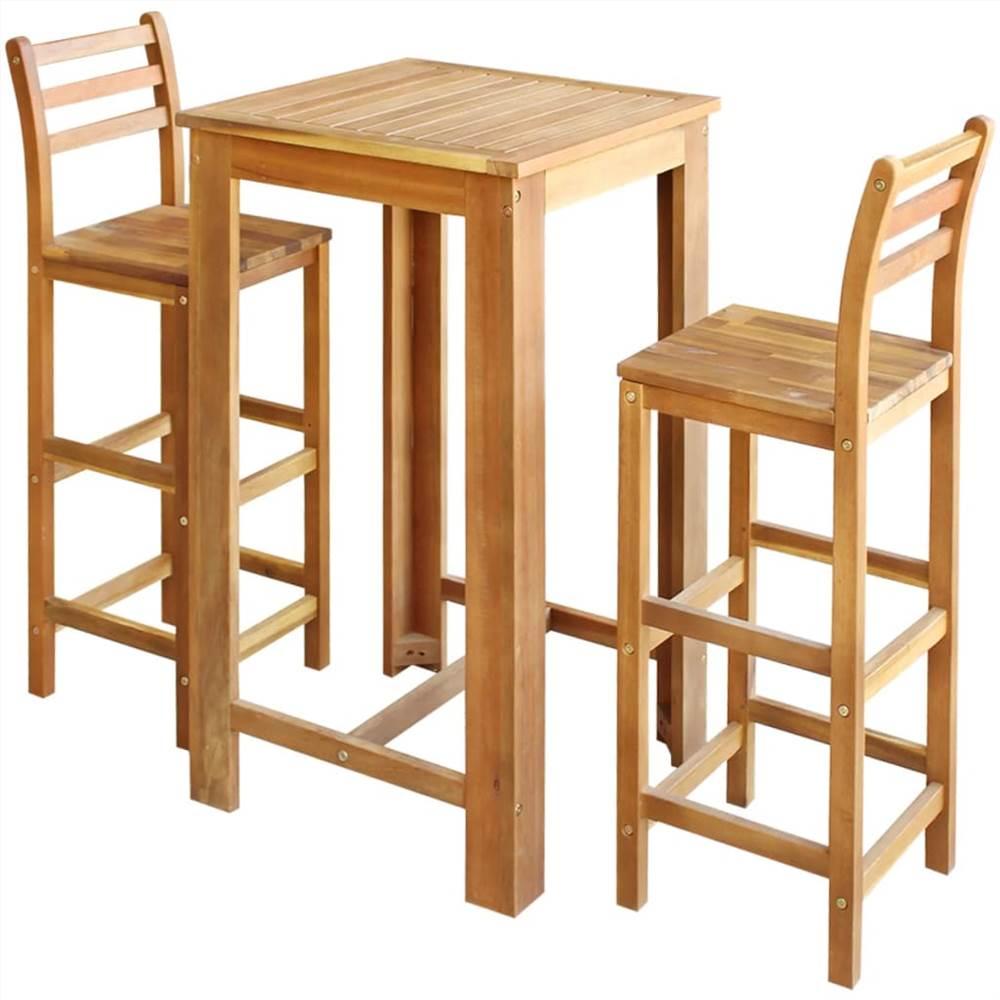 Ensemble table et chaise de bar 3 pièces en bois d'acacia massif