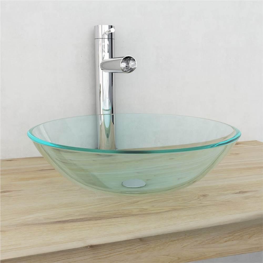 Vasque en verre trempé 42 cm Transparent