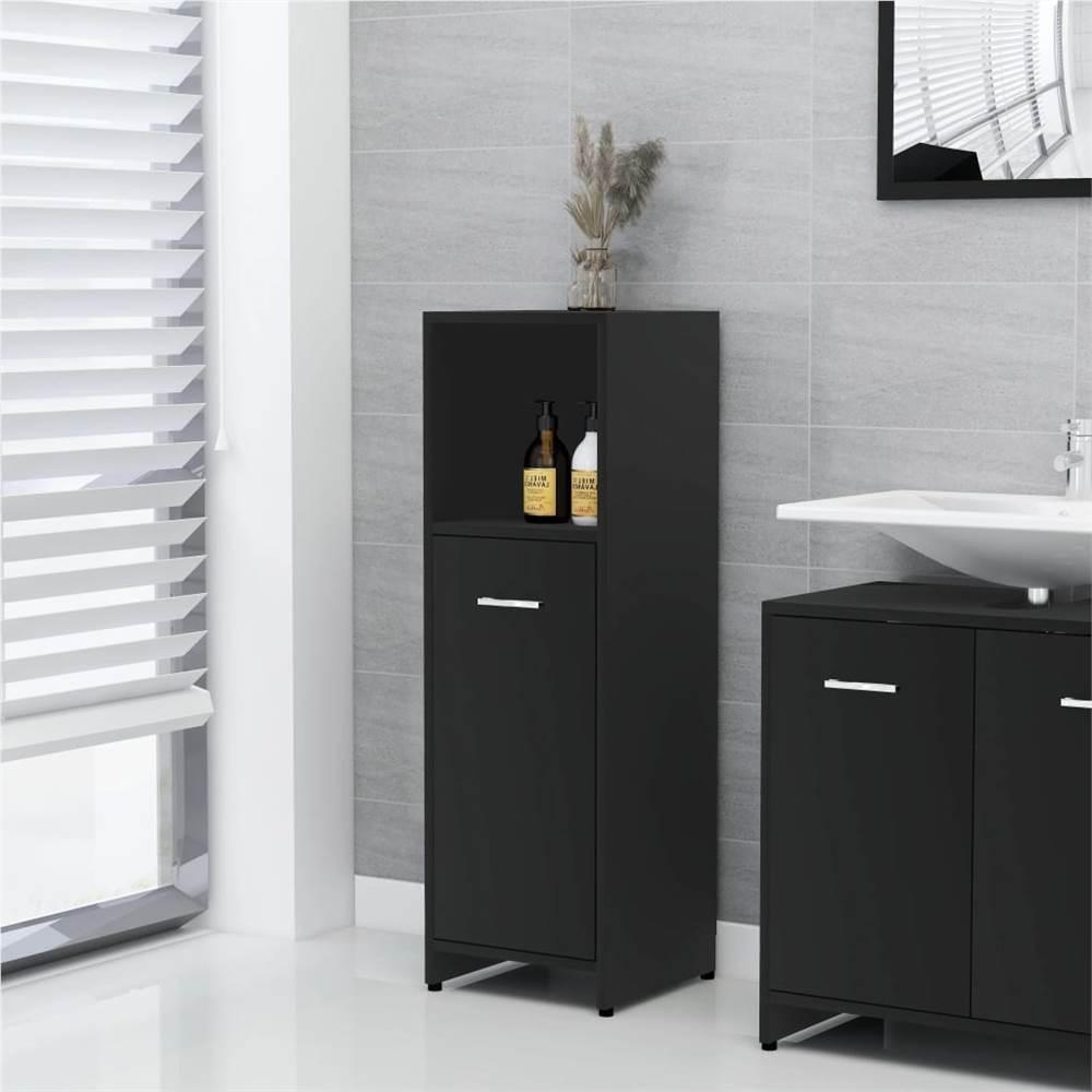 Meuble de salle de bain noir 30x30x95 cm