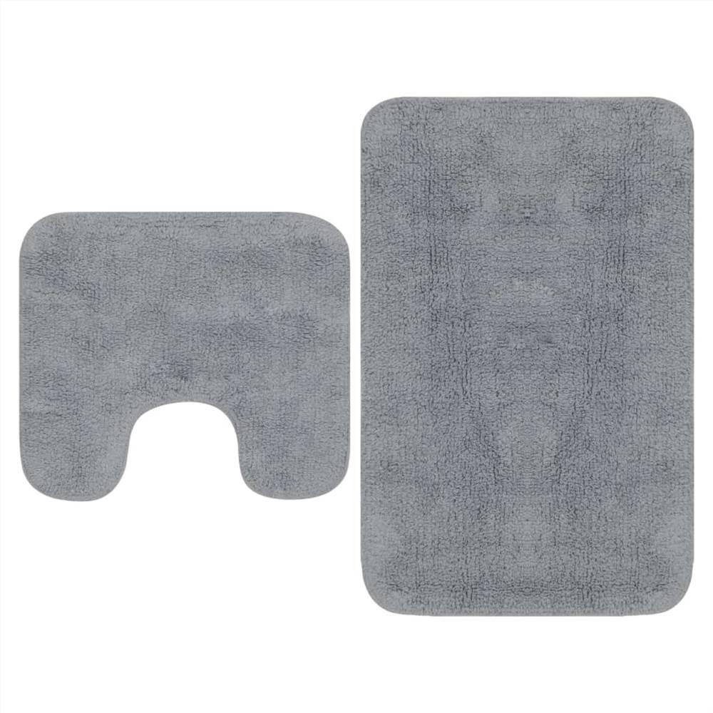 Набор ковриков для ванной, 2 предмета, ткань серый