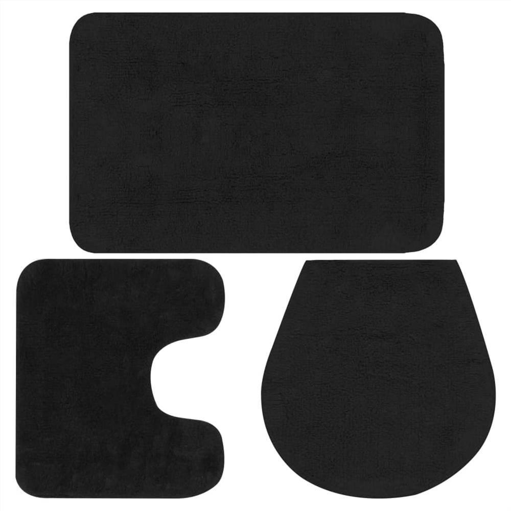 Набор ковриков для ванной, 3 предмета, ткань антрацит