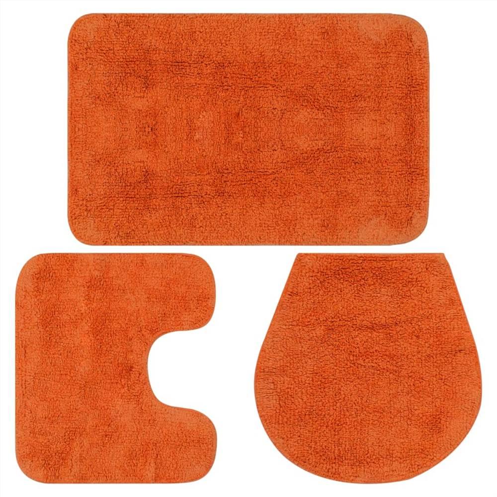 Набор ковриков для ванной из 3 предметов из ткани оранжевый