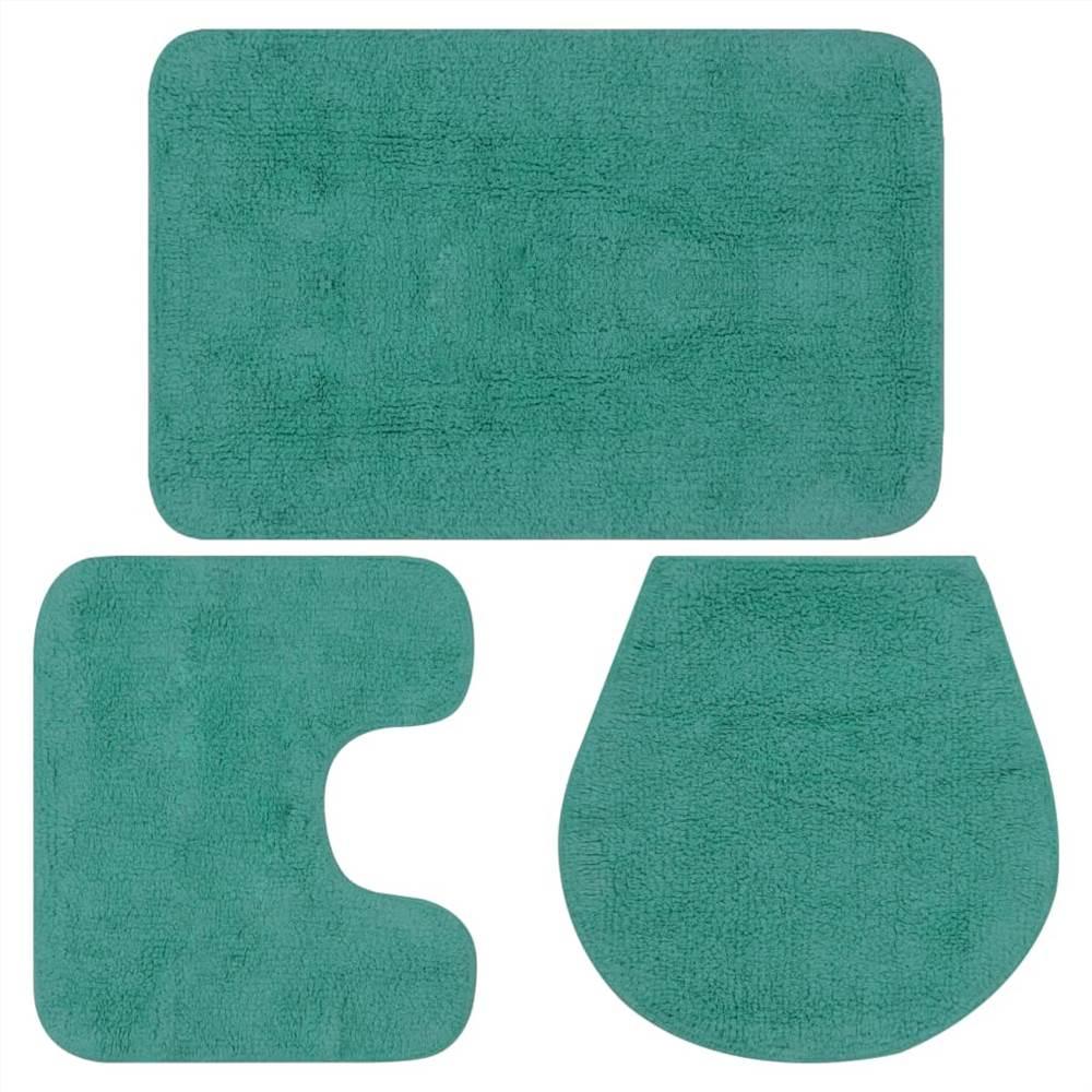 Набор ковриков для ванной комнаты бирюзовый, 3 предмета