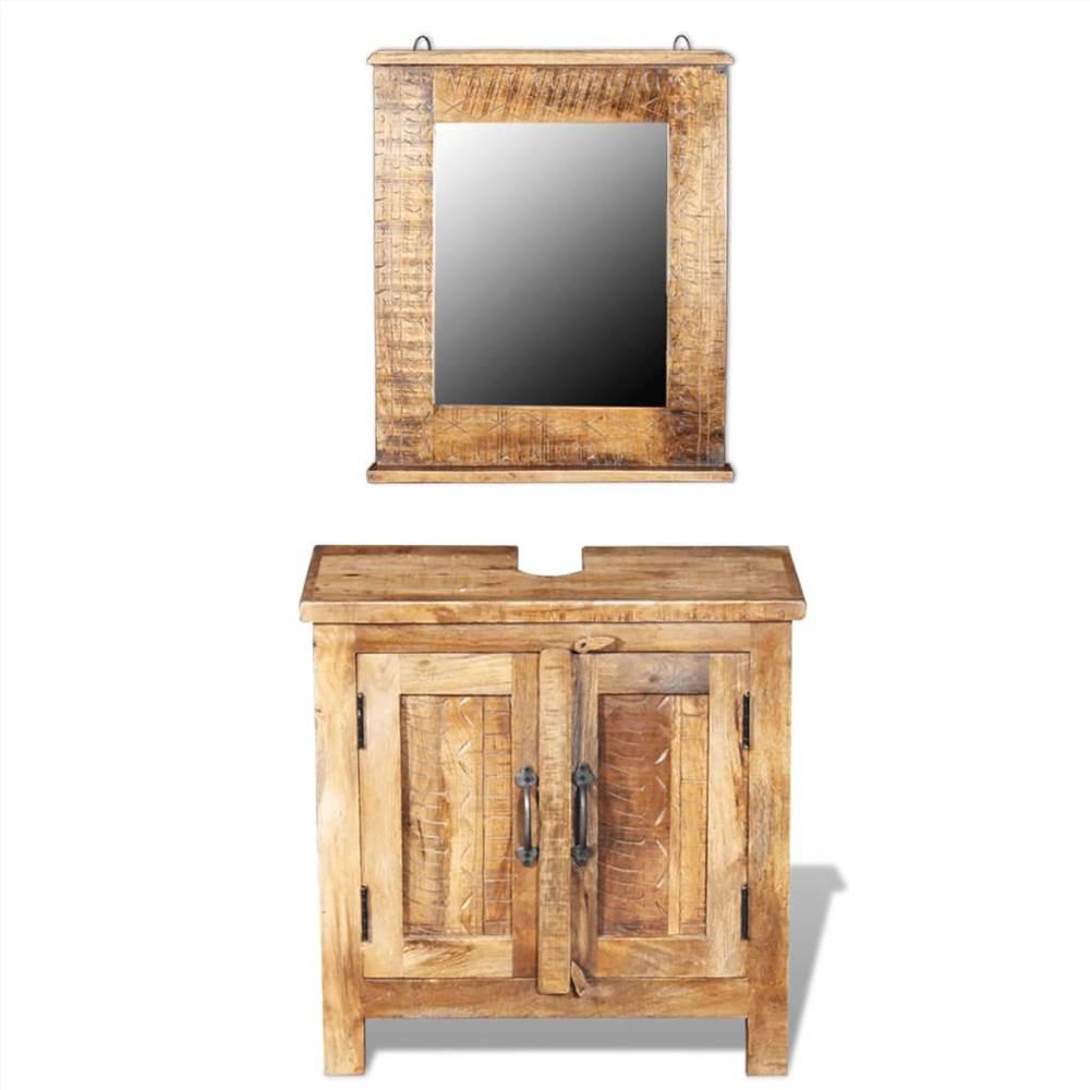 Meuble de salle de bain avec miroir en manguier massif
