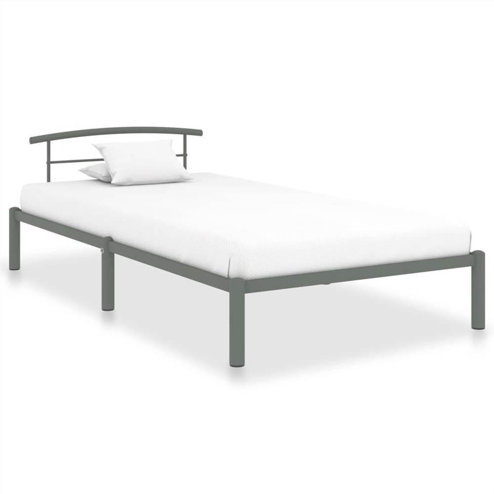 Cadre de lit en métal gris 90x200 cm