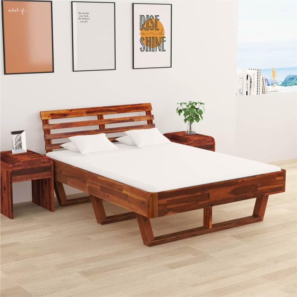 Cadre de lit avec 2 tables de nuit Bois d'acacia massif 140x200 cm