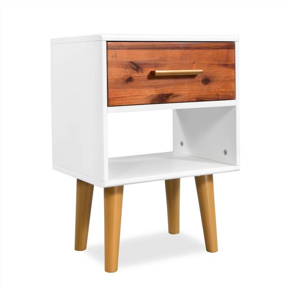 Bedside Cabinet Solid Acacia Wood 40x30x45 cm