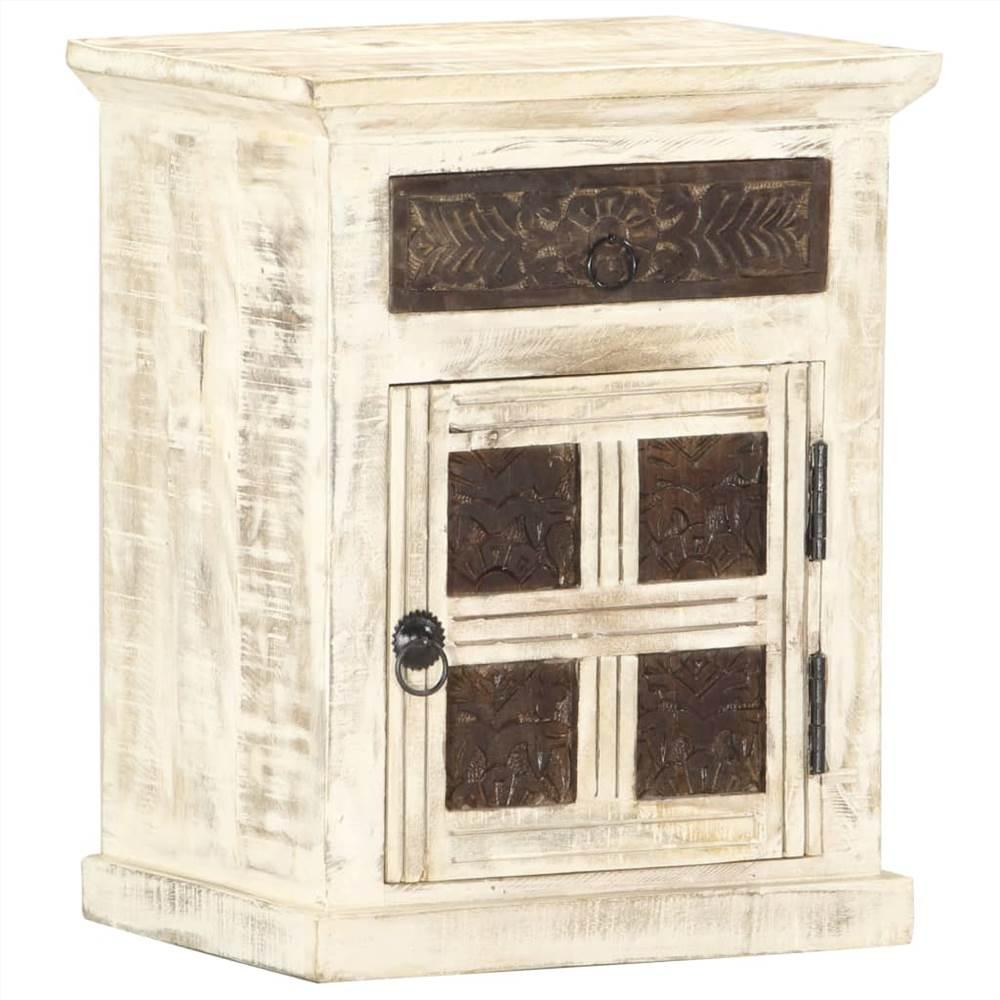 Bedside Cabinet White 40x30x50 cm Solid Mango Wood