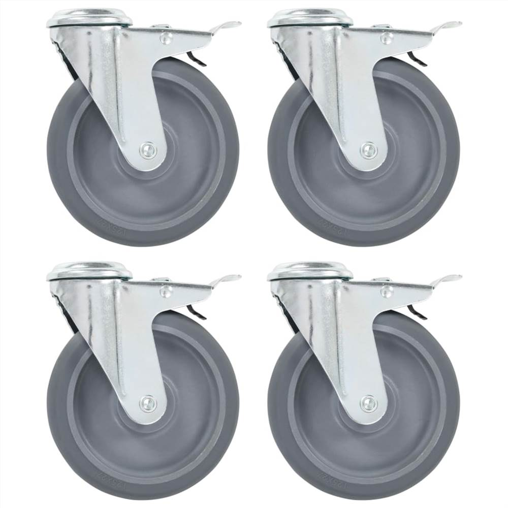 Bolt Hole Swivel Casters with Double Brakes 4 pcs 125 mm