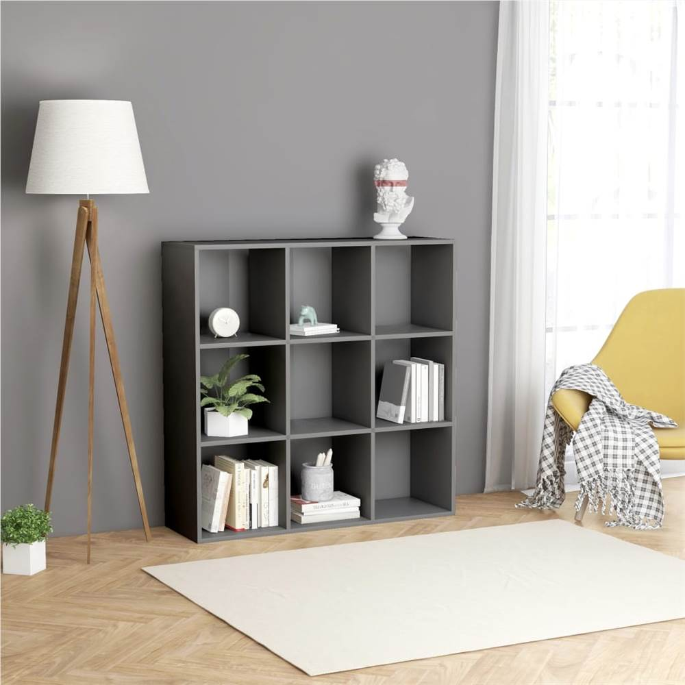 Bücherschrank Grau 98x30x98 cm Spanplatte
