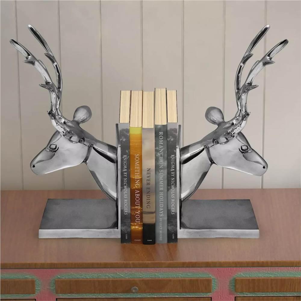 Suportes para livros Deer 2 unidades de alumínio prata