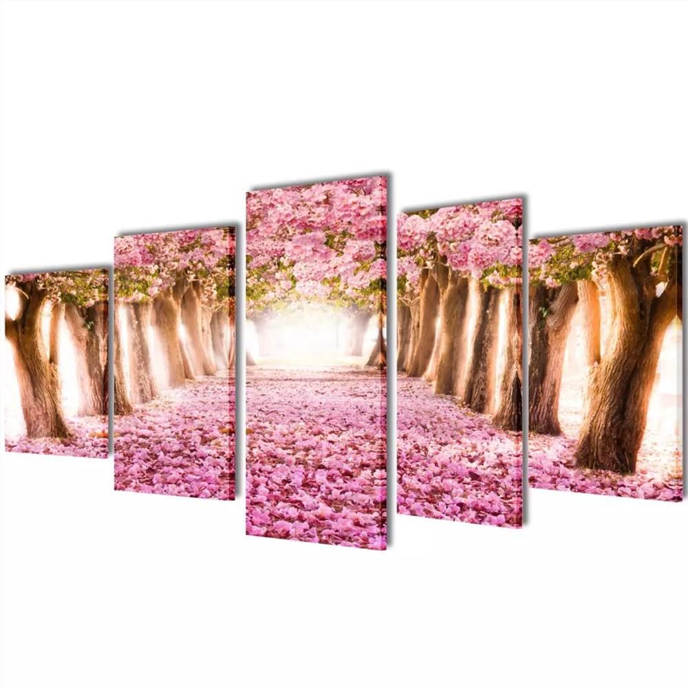 Leinwand Wanddruck Set Kirschblüte 200 x 100 cm