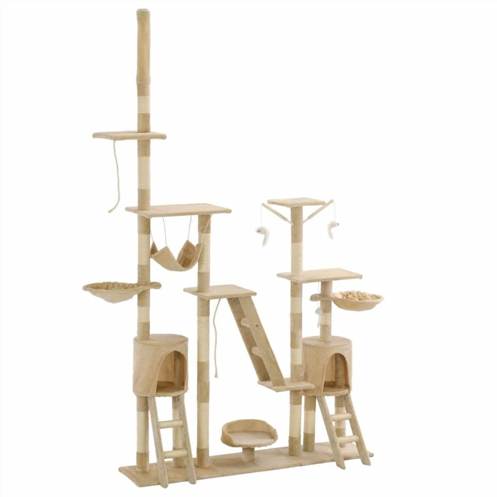 サイザル麻の引っかき棒が付いている猫の木230-250cmベージュ