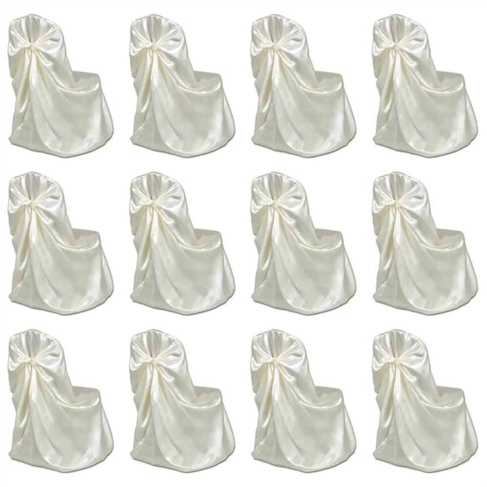 Chair Cover for Wedding Banquet 12 pcs Cream