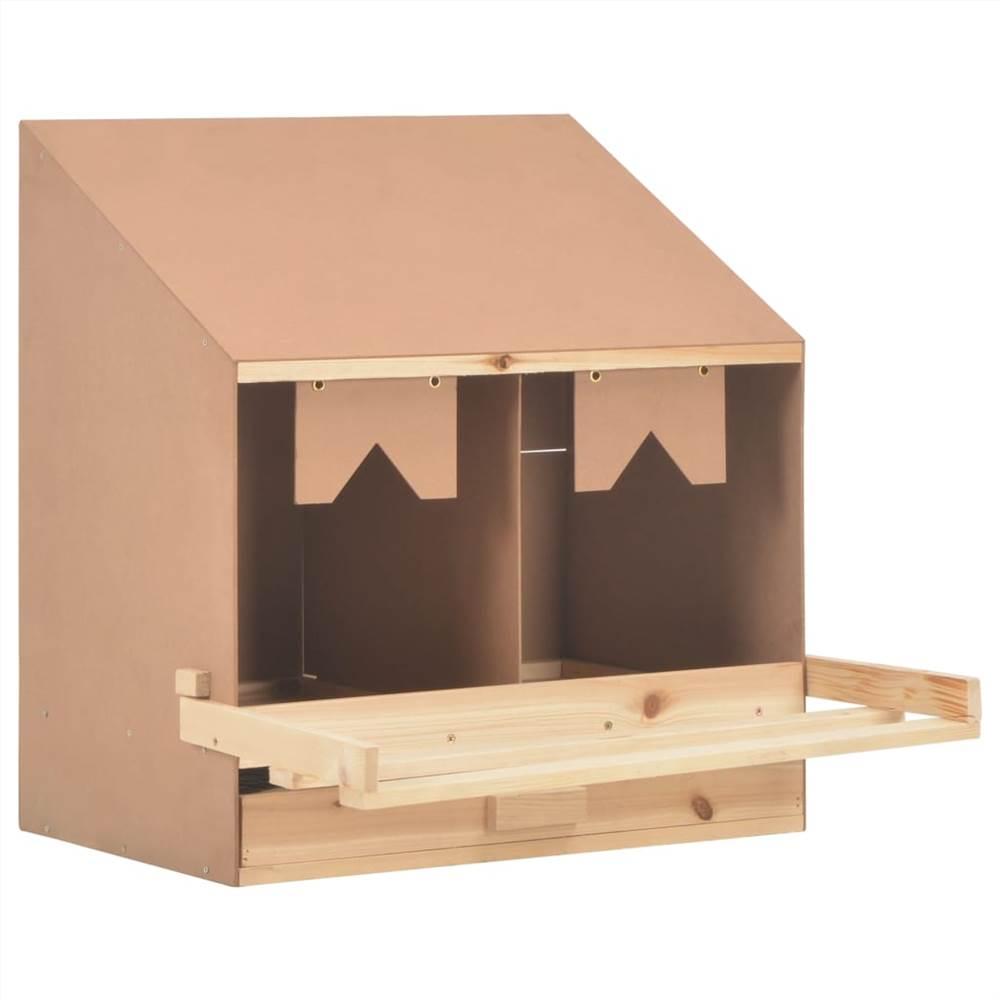 Poulet Pose Nid 2 Compartiments 63x40x65 cm Bois de Pin Massif
