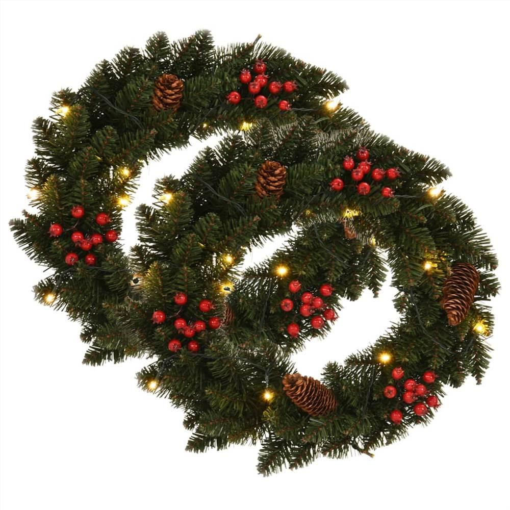 Couronnes de Noël 2 pièces avec décoration Vert 45 cm