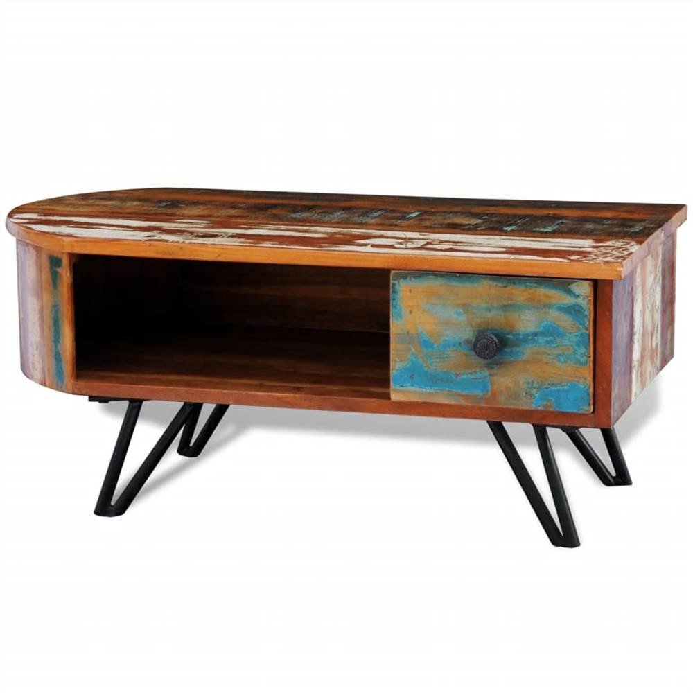 Coffee Table with Iron Pin Legs Solid Reclaimed Wood