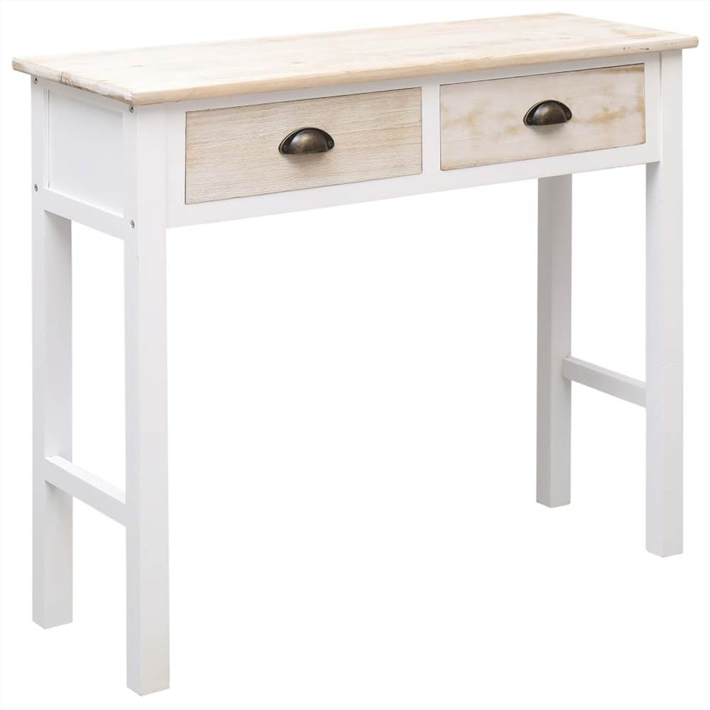 Console Table White and Natural 90x30x77 cm Wood