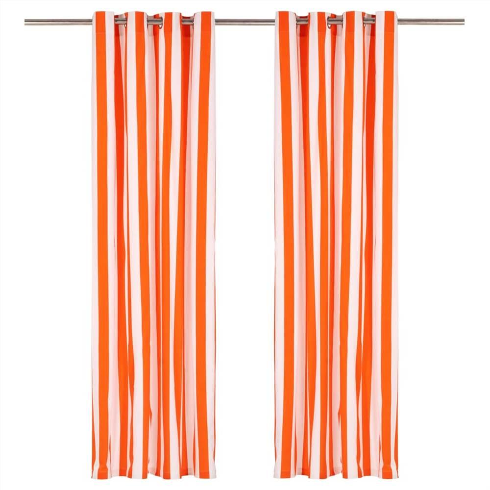 Rideaux avec anneaux métalliques 2 pièces Tissu 140x245 cm Rayure orange