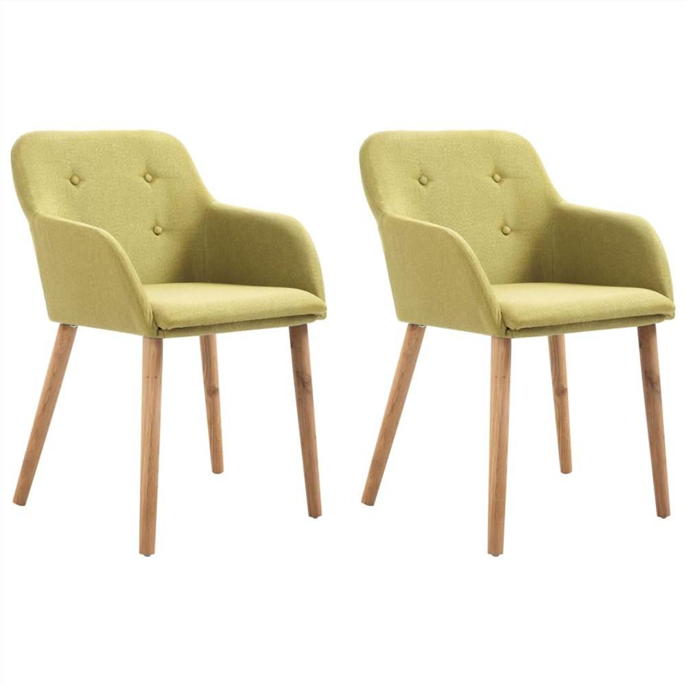 Chaises de salle à manger 2 pièces tissu vert et bois de chêne massif