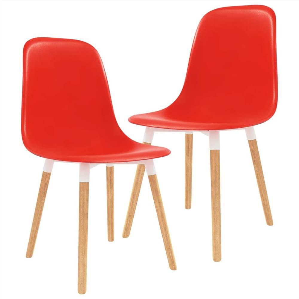 Chaises de salle à manger 2 pièces en plastique rouge