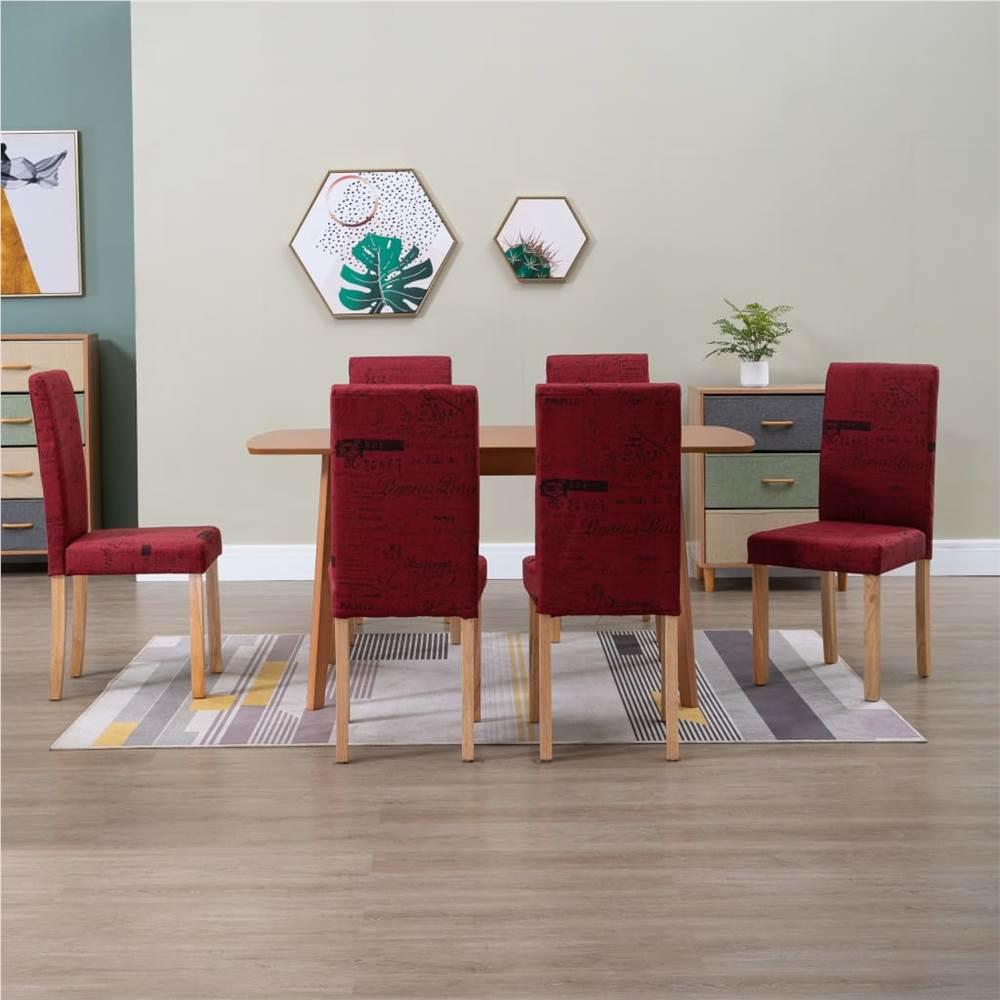 Chaises de salle à manger 6 pièces en tissu rouge vin