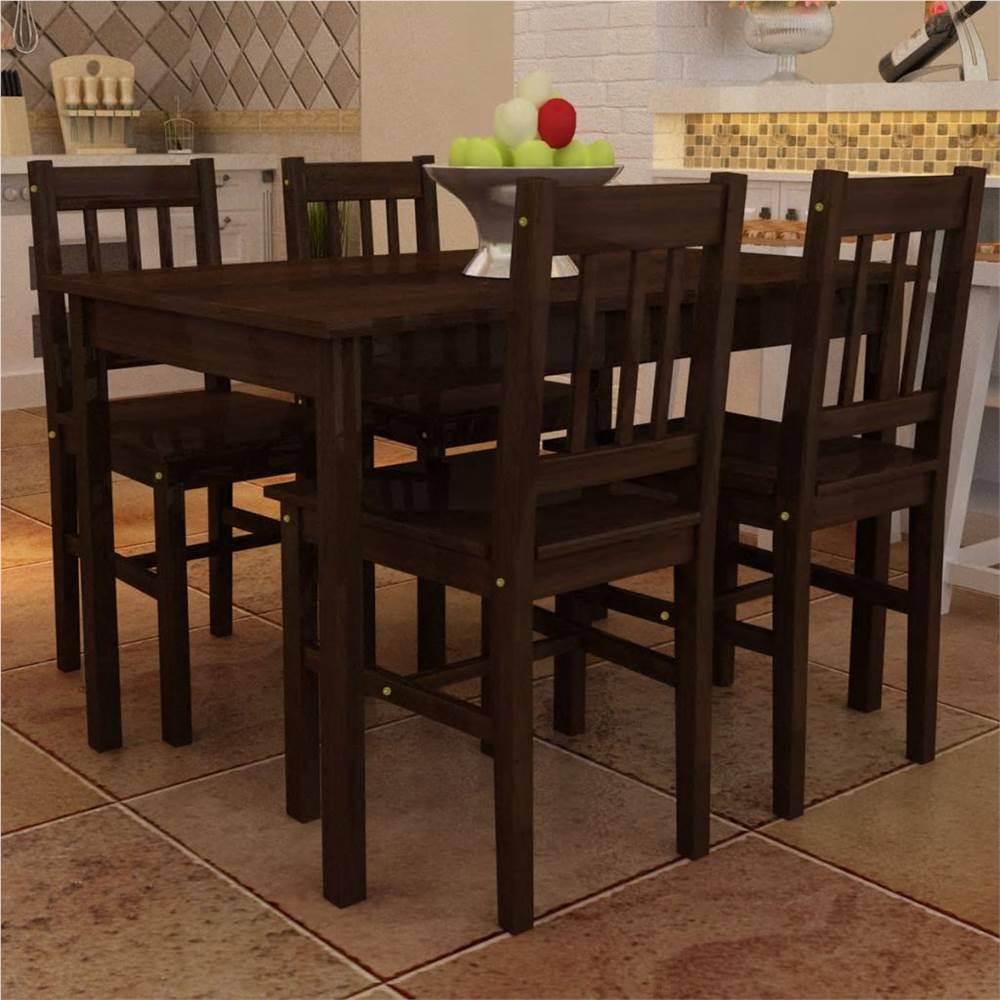 Ensemble de salle à manger 5 pièces en pin brun