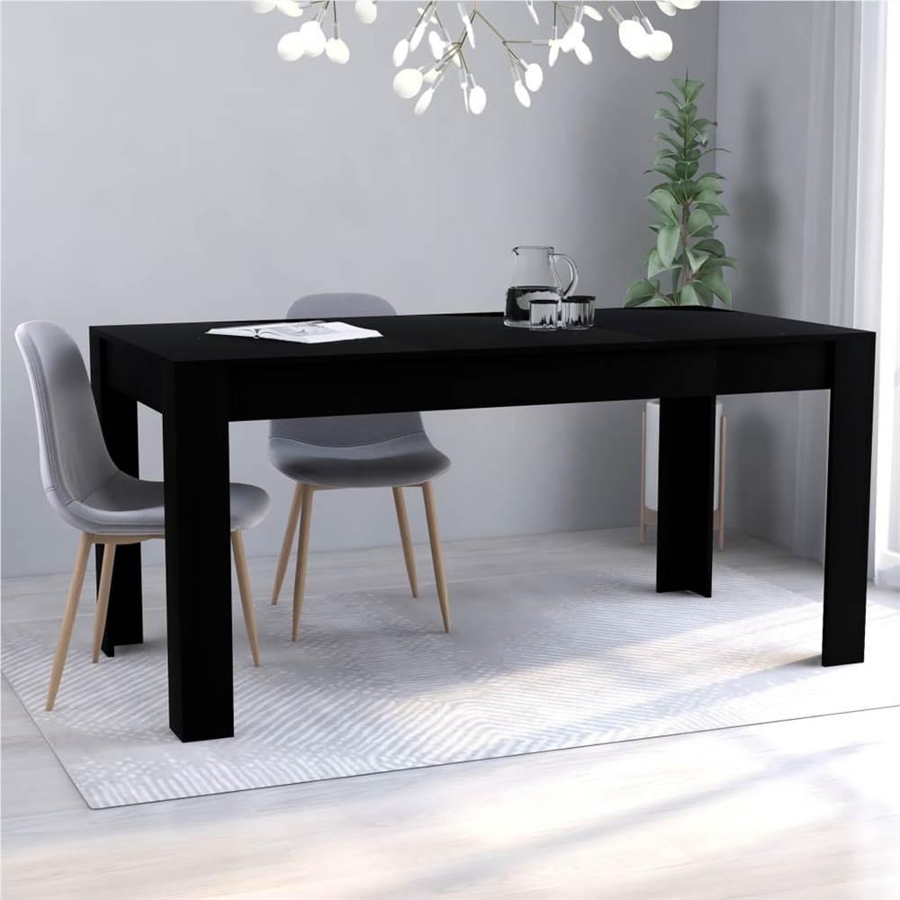 Dining Table Black 160x80x76 cm Chipboard
