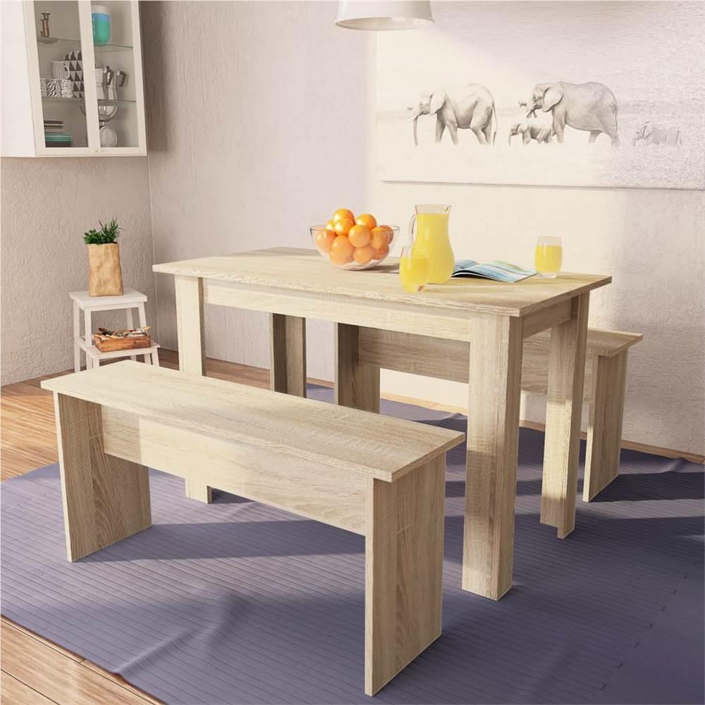 Table à manger et bancs 3 pièces Chipboard Oak