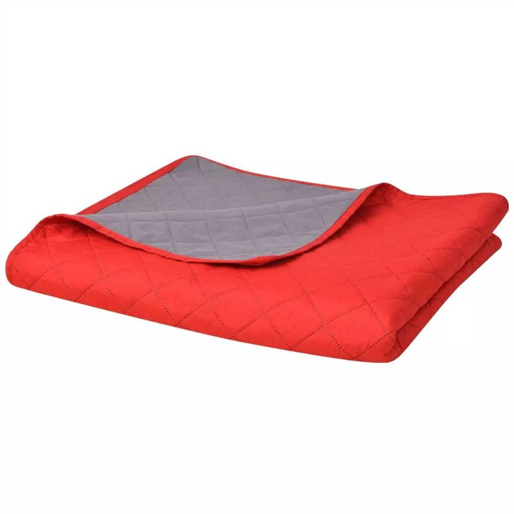 Couvre-lit matelassé double face rouge et gris 170x210 cm