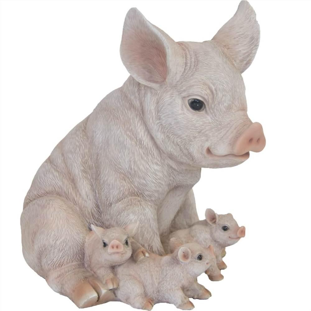 Esschert Design Pig com Leitão 19,4x22,3x24,3cm