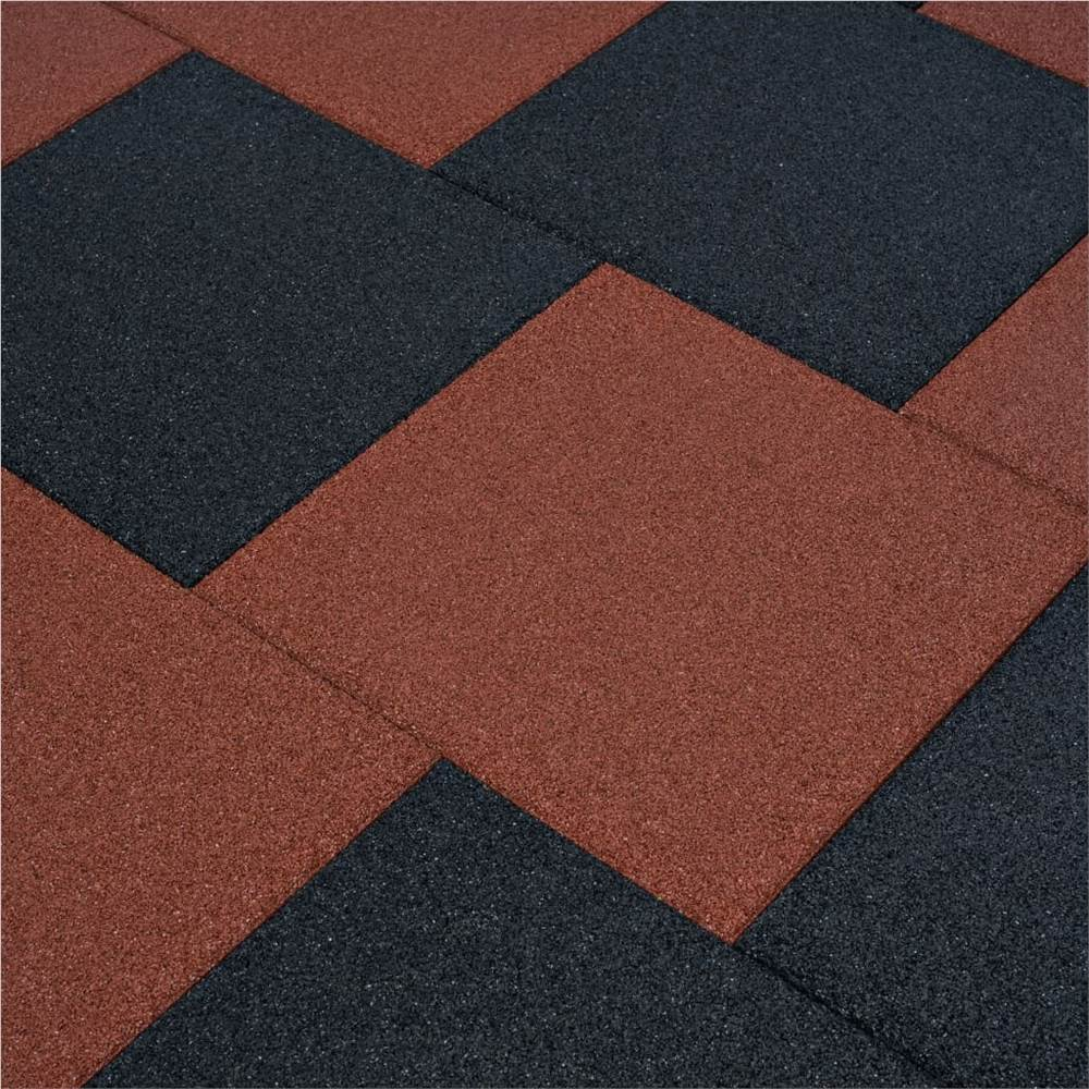 Fall Protection Tiles 18 pcs Rubber 50x50x3 cm Red
