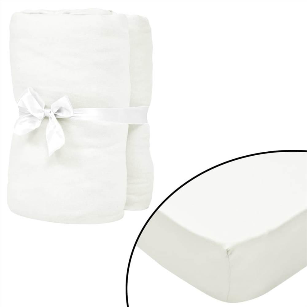 Draps-housses pour lits bébé 4 pièces Jersey de coton 40x80 cm écru
