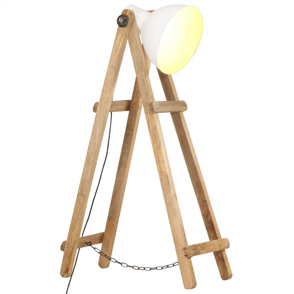 Floor Lamp White E27 Solid Mango Wood