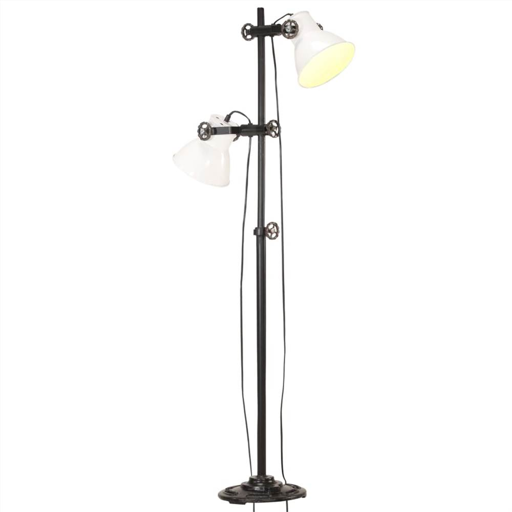 Floor Lamp with 2 Lampshade White E27 Cast Iron