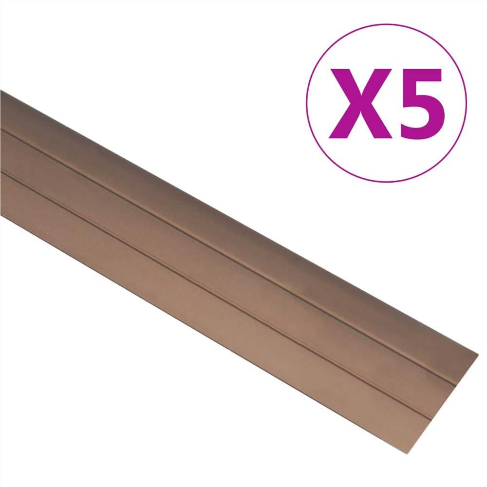 Floor Profiles 5 pcs Aluminium 90 cm Brown